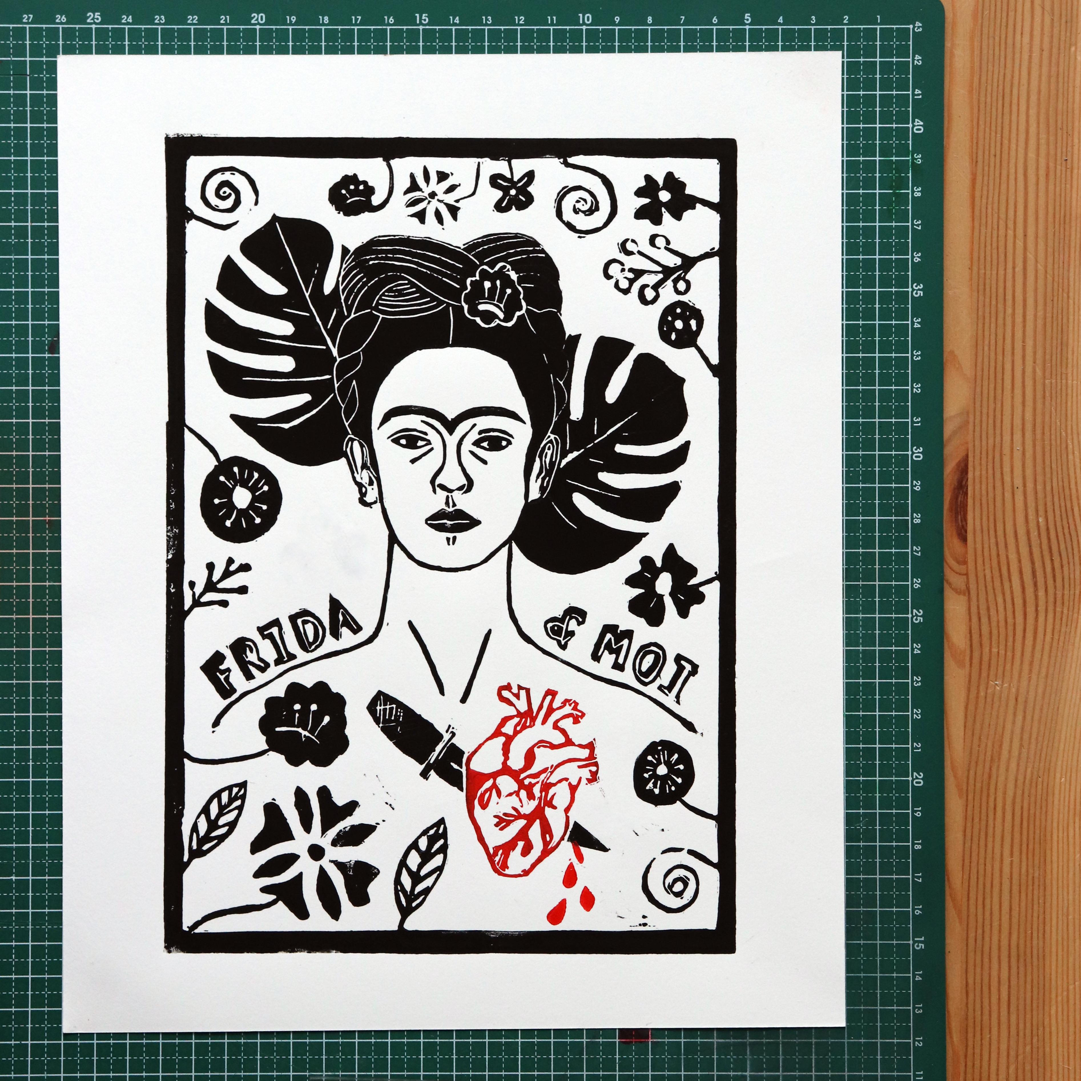 """Linogravure """"Frida & Moi"""""""