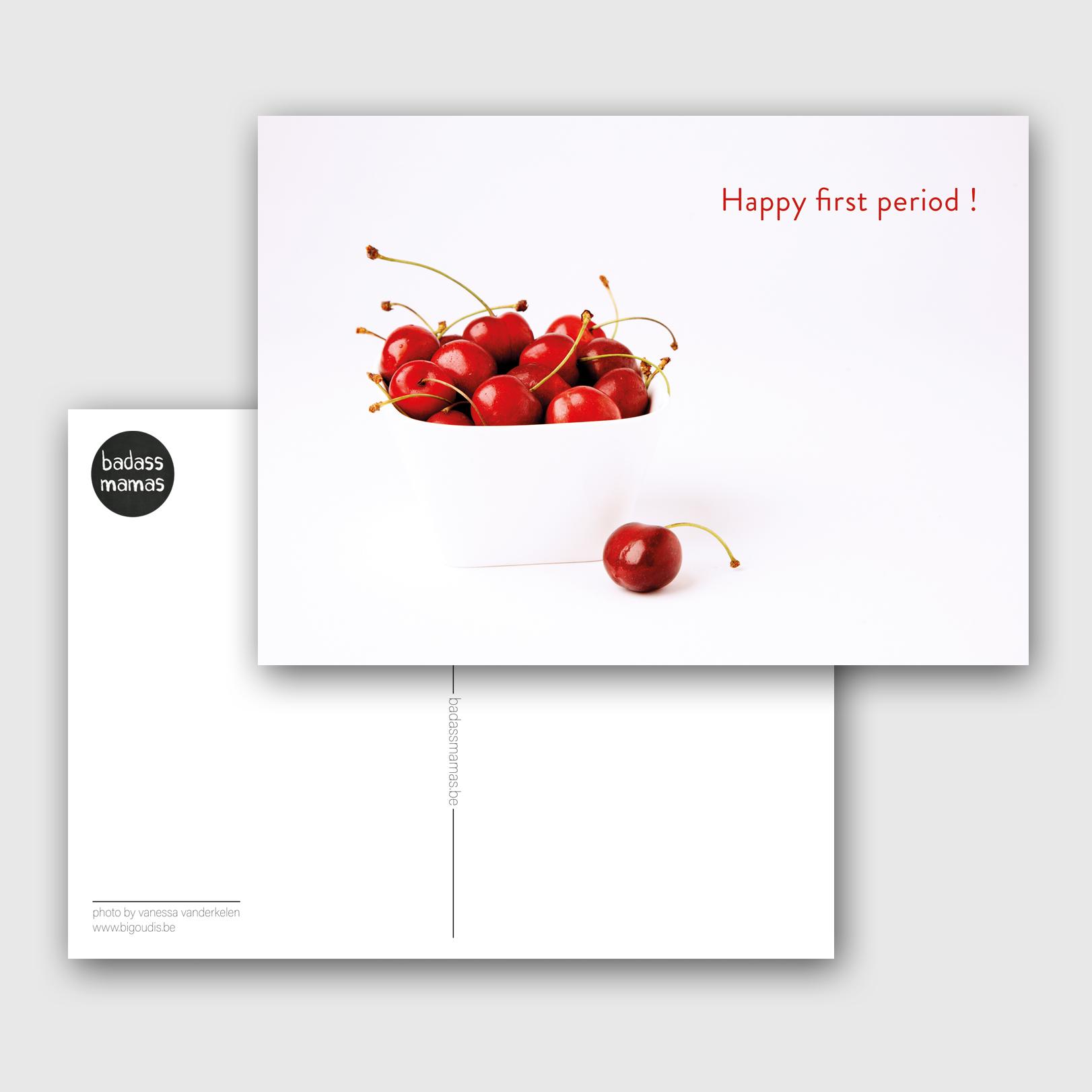 carte postale happy first period cherries