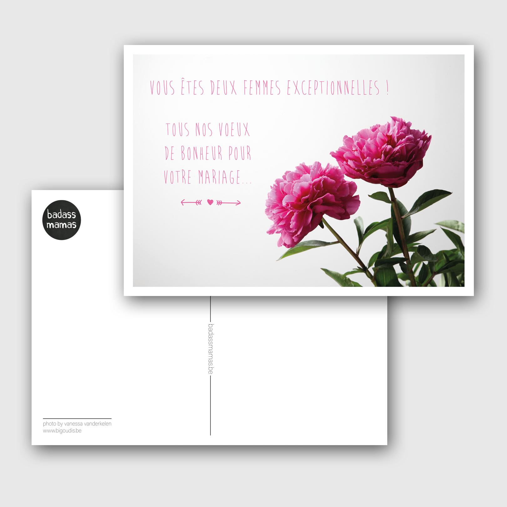 carte postale mariage #04 pour 2 femmes exceptionnelles