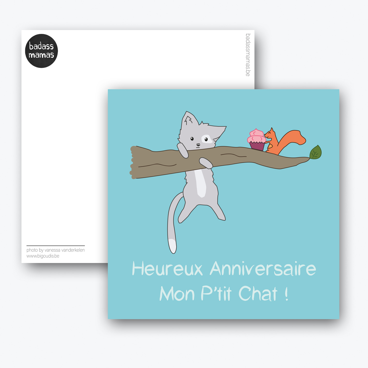 carte postale anniversaire p'tit chat