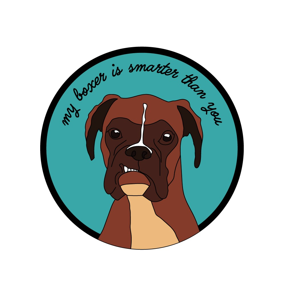"""sticker """"my boxer is smarter than you"""""""