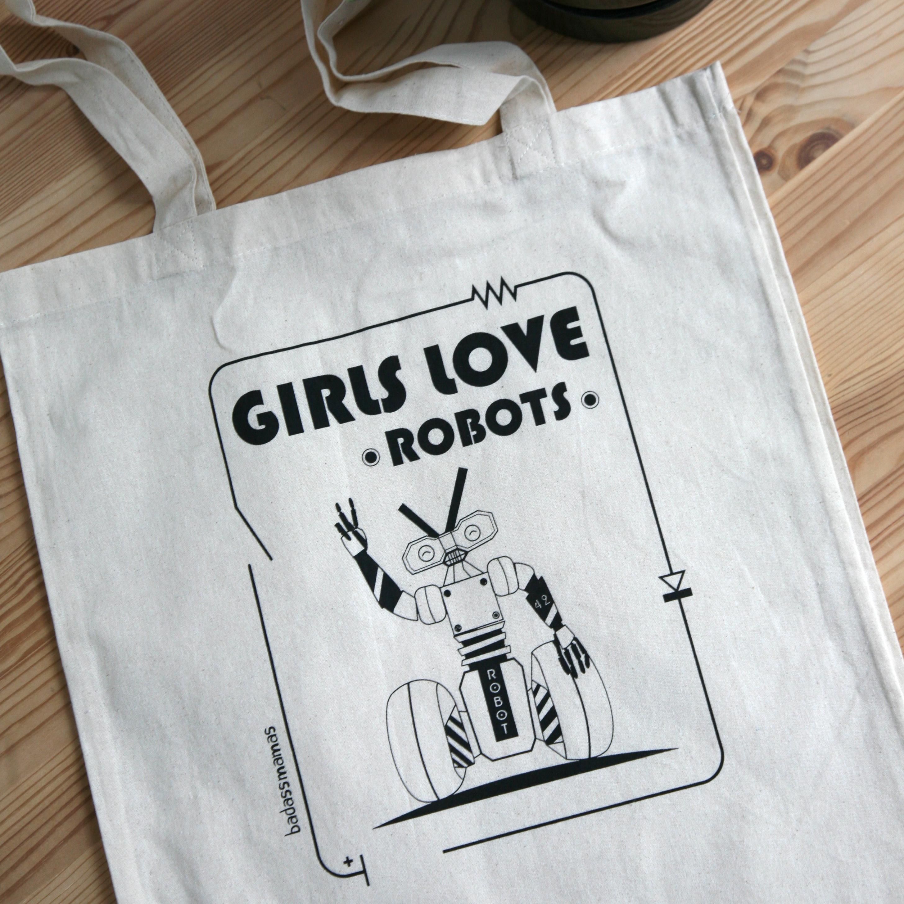 "totebag ""girls love robots"""