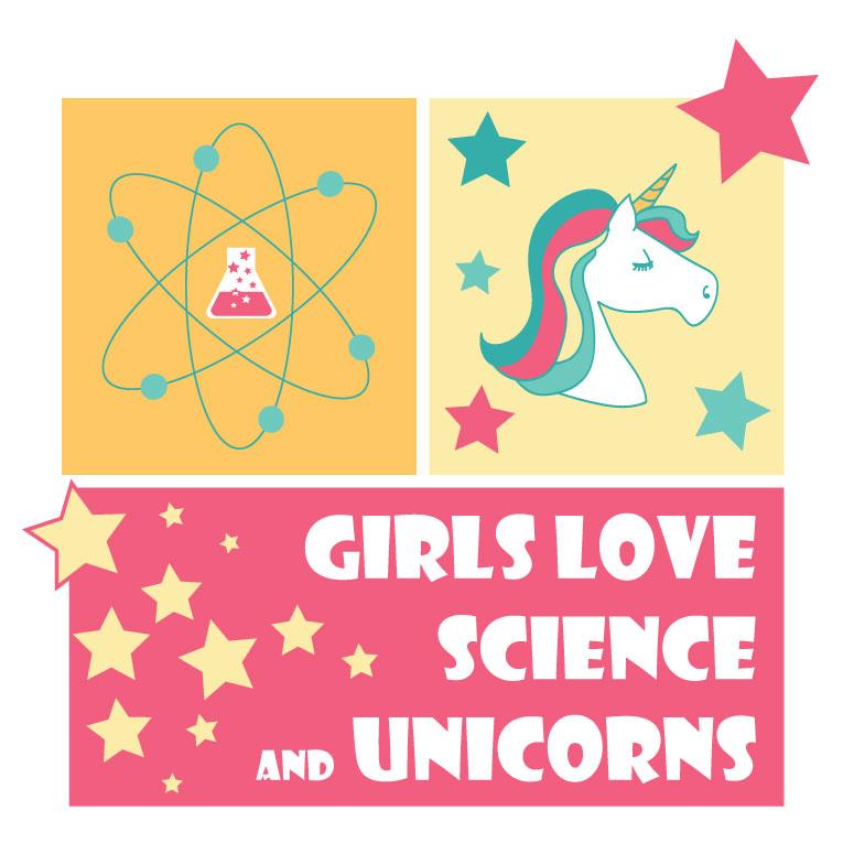 """tee shirt """"girls love science & unicorns"""""""
