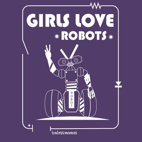 "tee shirt ""girls love robots"" - aubergine"