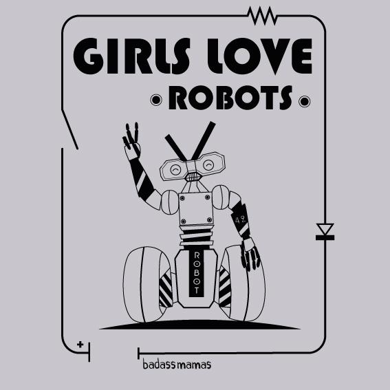 """tee shirt """"girls love robots"""" - gris"""