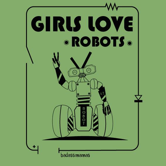 """tee shirt """"girls love robots"""" - pistache"""